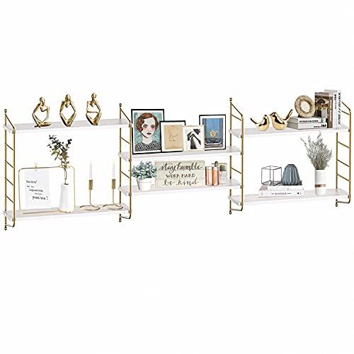 Boluo, mensola da parete in oro bianco con ripiani galleggianti per bagno, per camera da letto, soggiorno, cucina, libreria, 60 cm