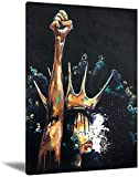 Black King Man Wall Art African American Portrait Black King Liberation Abstract Contemporary African Black Freedom Canvas For Living Room (Wonder Woman,16x24inch-Framed)