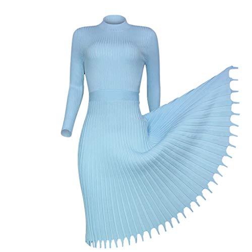 Flamedre-Faltenrock Langer Damenpullover aus einfarbigem Faltenkleid Damenmode beiläufige lose Lange Hülsen-Strickjacke Stricken Normallackkleid Warmes Strickkleid (XL, Hellblau)