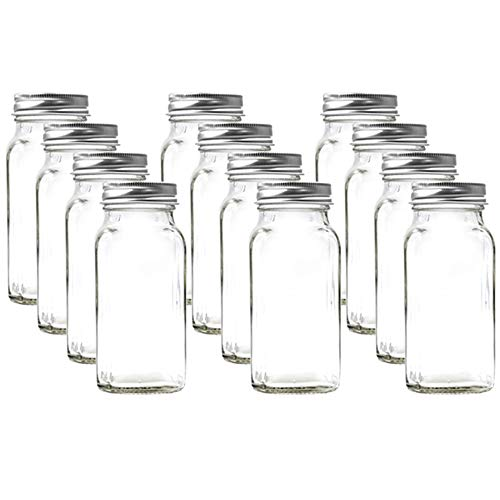 4oz 120ml Square Spice jar with Silver lid shakers and Labels