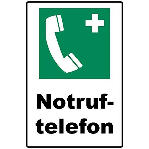 Schild Notruftelefon Schild Rettungszeichen grün 30 x 20 x 0,3 cm Hartschaumplatte