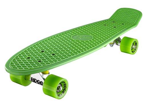 Ridge Skateboards 27 Inch Big Brother Retro Mini Cruiser Nickel Skateboard - UK Vervaardigd - groen, groen