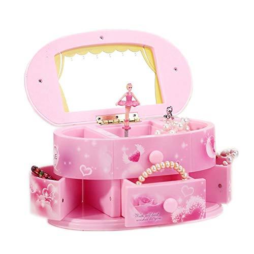 WASDY Tanzen Ballerina Spieluhr Schmuckschatulle Mini Tragbarer Schminkspiegel Spieluhr Schmuckkästchen Aufbewahrungskoffer Mit Spiegel Für Mädchen