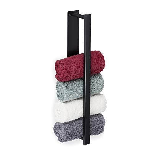 Relaxdays Handtuchhalter, 430er Edelstahl, selbstklebend, ohne Bohren, flexible Wandmontage, Handtuchregal 40cm, schwarz