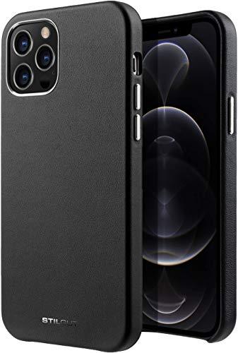 StilGut Cover kompatibel mit iPhone 12/12 Pro Hülle aus Leder -Lederhülle, Ledercase - Schwarz