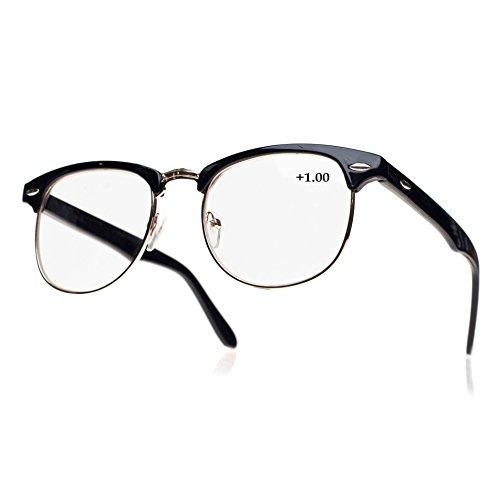 morefaz New Unisex (Damen Herren) Retro schwarz Lesebrille Brille +1.0 +1.5 +2.0 +2.5 Reading Glasses (TM) (+1.5
