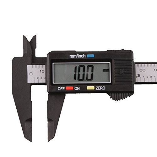 DDLBiZ - Calibrador electrónico, 150 mm, escala vernier, visor LCD, fibra de carbono, micrómetro