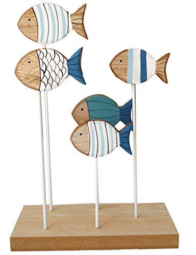khevga Maritime - Figura decorativa para baño, diseño de peces, color azul