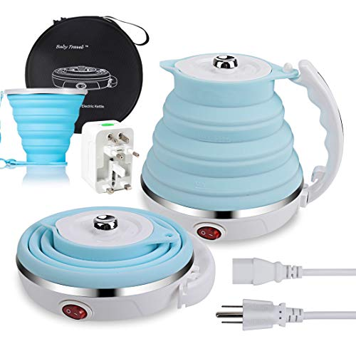 Travel Electric Kettle, ShineMe Food Grade Silicone Foldable Portable Water Kettle with Cup and Universal Adaptor, Dual Voltage 110-220V, Detachable Power Cord, 555ML (Blue)