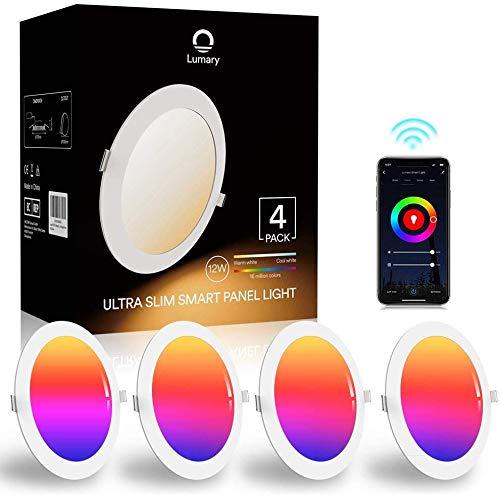 Lumary Faretti LED da Incasso - per Cartongesso WiFi 12W Faretti LED Ultrasottili RGBWW 840LM APP Controllo Multi Colore Dimmerabile Musica Faretti a LED per Interni,Pertain Alexa Google Home (4-PZ)