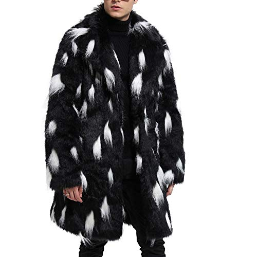 Forthery Mens Faux Fur Coat Long Jacket Winter Warm Thick Overcoat Outwear(Black, US Size S = Tag M)