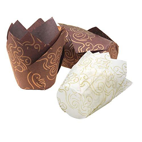 Fodlon Muffinformchen Papier Hochzeit 100Pcs Muffins Papierformchen Tulpenform, Backpapier für Backkurse Kuchenladen Familien Cupcakes Backwerkzeuge, weiße Farbe und braune Farbe