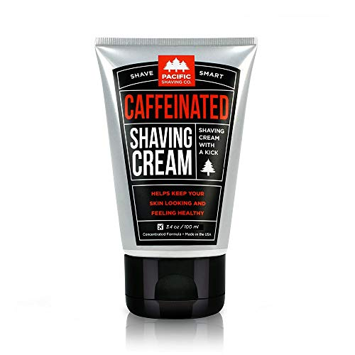 Pacific Shaving Company Caffeinated Shaving Cream - Helps Reduce Appearance of Redness, With Safe, Natural, and Plant-Derived Ingredients, Soothes Skin, No Parabens, Made in USA, 3.4 oz