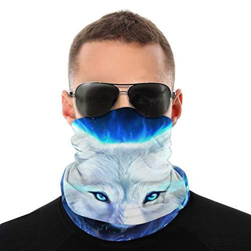 AS-WALL White Ice Wolf Magic Headband Elastic Seamless Face Mask Bandanas Neck Balaclava Outdoor Sport Headwear Scarf,Balaclava,Helmet Liner,ATV/UTV Riding UV Resistence