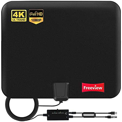 2021 Version Antenne TV Intérieur Puissante TNT HD - Antenne HDTV avec Amplicateur de Signal Intellectuel 30 dBi Jusqu'à 280 km - pour 1080P 4K Chaînes Télévision Gratuites – 5m de Câble Coaxial