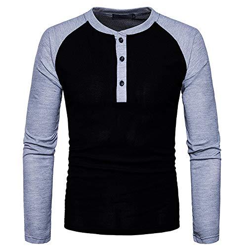 SALEBLOUSE Herren Gemütlich Weiche Baumwolle Farbe Passend Patchwork Langarm T-Shirt...
