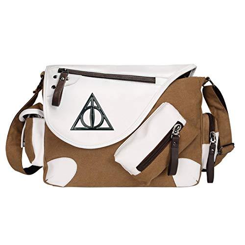 Fashion Cute Girls Messenger Bag Canvas School Bag Children Shoulder Bag Lunch Bag Medium Brown-B