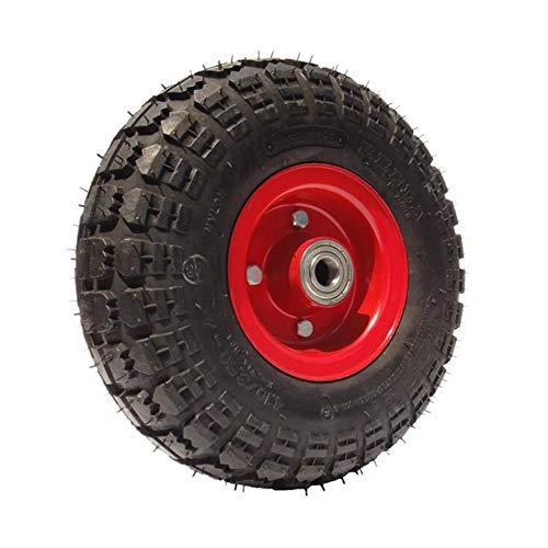 MuMa hjul 10 tum gummi uppblåsbar Single 4,10/3,50-4 dämpning universalrullar (färg: VART, storlek: 10 tum)