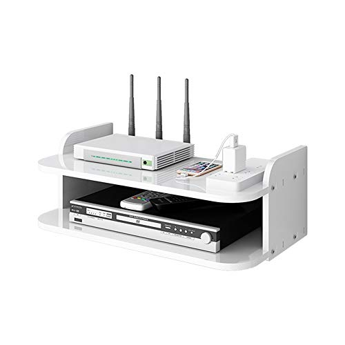 Rack de almacenamiento de enrutador Teléfono Almacenamiento Rack TV Set-Top Shelf, Wifi Router Shelf Set-Top Shelf, Mini PC Reproductor de DVD Soporte Rack Aluminio 2/3 Capa Espacio Accesorios de casa
