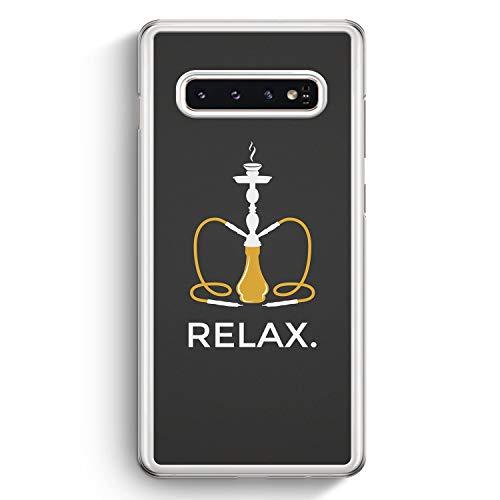 Relax. Shisha - Hülle für Samsung Galaxy S10 - Motiv Design Spruch Lustig Cool Witzig - Cover Hardcase Handyhülle Schutzhülle Case Schale