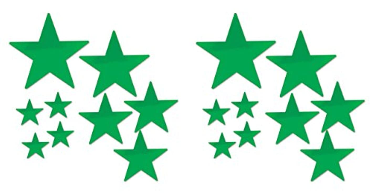 Beistle 53306-G 18 Piece Packaged Foil Star Cutouts, Assorted Sizes, Green pgxanjqeywo836