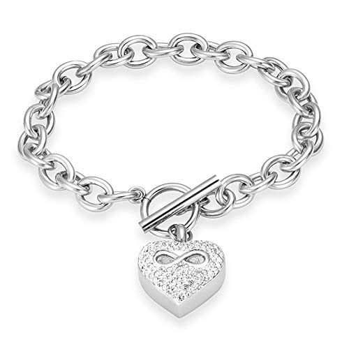 Infinity Heart Cremation Bracelet for Ashes - Stainless Steel Urn Bangles for Pet/Human Ashes - Memorial Keepsake Ash Jewelry (Silver)