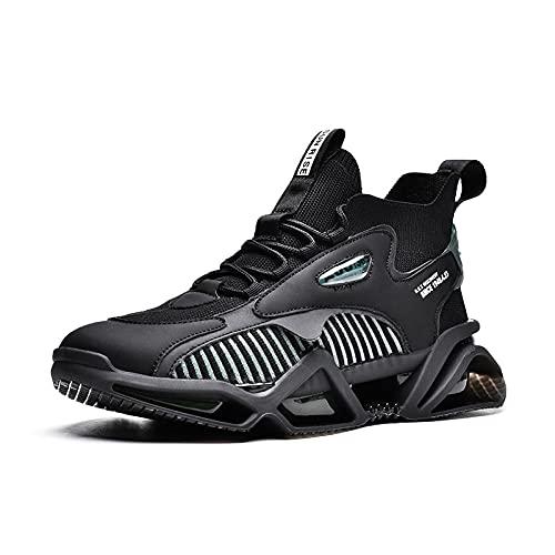 BAIDEFENG Zapatillas Bajas de Hombre,Zapatillas de Plataforma Alta, Zapatillas de Deporte de Alto Equilibrio elástico-Negro_44