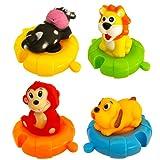 Juguetes de Baño con Forma de Animales para Bebés y Niños| Set de 4 Animales Marinos de Juguete Coloridos para La Bañera-Piscina-Playa | Ideal Juguete de Baño Bebé con Rompecabezas