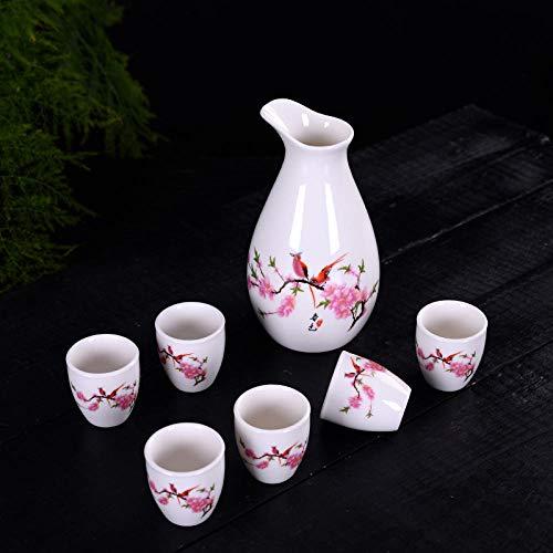 Juego de té, taza de té, juego de vino de 7 cabezas, dispensador de vino de cerámica, jarra caliente, jarra de licor japonés, copa de vino, LOGOTIPO personalizado-Flor de durazno-Niaoyuhuaxiang