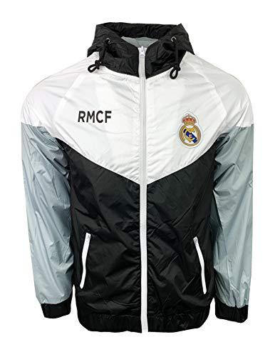 Real Madrid Mens Light Weight Full Zip Hooded Wind Breaker Jacket (Medium) White