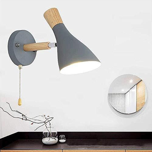 Licht van de Muur Nordic Modern Design ijzer en hout wandlamp met Pull-keten-schakelaar Bedroom Study Room Living Room (Color : Gray)