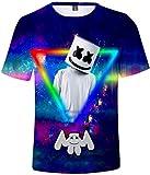 OLIPHEE Camisetas con 3D Impresa de Anime de DJ Music Personalidad para Hombre Triángulo-3XL