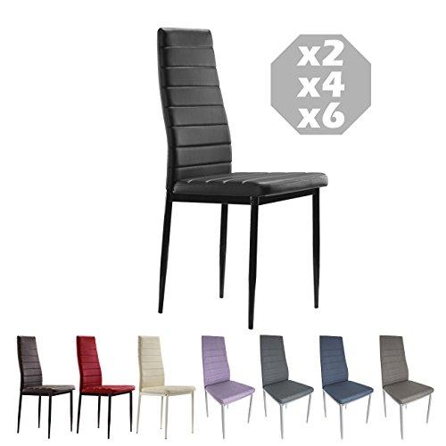 MOG CASA - Juego de 6 sillas de Comedor con Patas metálicas y tapizadas de Piel sintética alcochad