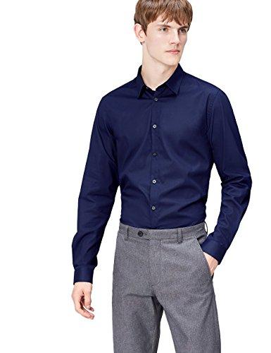 FIND Camisa Clásica para Hombre, Azul (Navy), Large