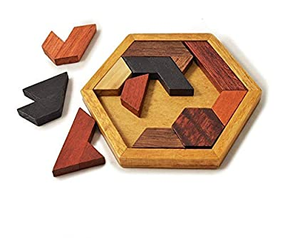 KINGZHUO Hexagon Tangram Classic Handmade Wooden Puzzle for Children and Adults Challenging Puzzles Brain Teasers for Adults Puzzles Portable Family Puzzles All Ages Brain Games from KINGZHUO