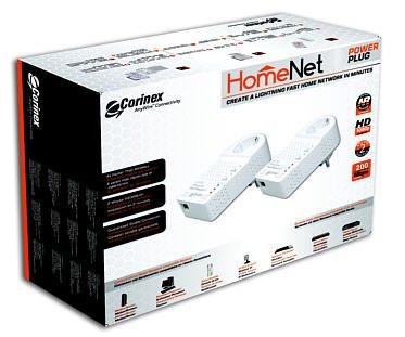 Corinex HomeNet HD200 PowerLine Adapter Wall Mount Dual Pack, Female (2 Steckeradapter mit durchgeschleifter Steckdose, nicht für CH)