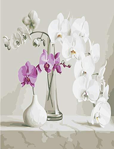 LULCLY Schilderen Door Getallen Kunst Verf Door Aantal Vaas Glazen Fles Keramische Witte Bloemblaadjes Schilderijen Door Getallen 40X50Cm