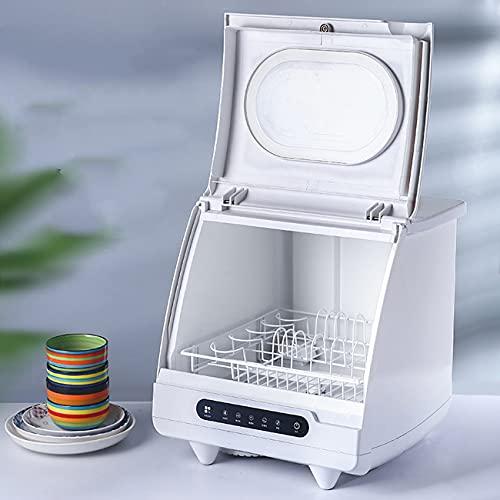 POEO Lavaplatos de Instalación Gratuita de Escritorio Totalmente Automático, Limpiador de Vajilla Portátil con 5 Modos Ajustables, Limpieza Potente de 360° para el Restaurante Casero