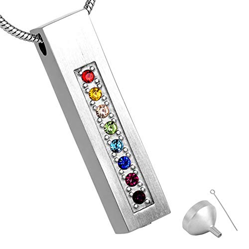 Ashes Necklace Eight-color Diamond Rectangular Ashes Pendant Souvenir Decoration Cremation Jewelry Filling Kit