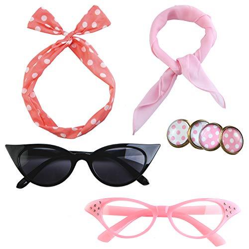 Aneco 6 Pack 50¡¯s Costume Set Chiffon Scarf Cat Eye Glasses Bandana Tie Headband Earrings for Women Accessories¡ Pink