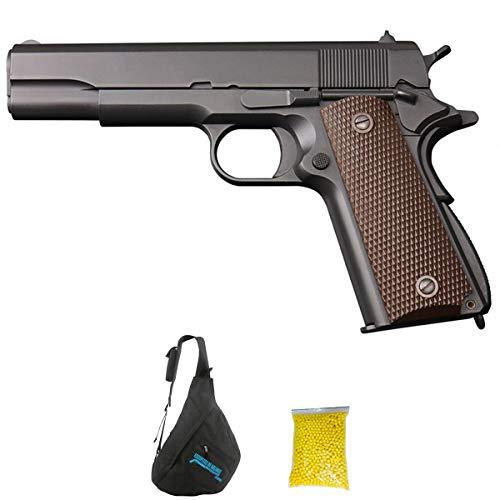 KJWorks 1911 Pistola Full Metal | Pistola de Airsoft Calibre 6mm (Arma Aire Suave de Bolas de plástico o PVC). Sistema: Green Gas. 1 Julio.