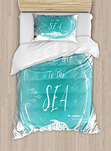 ABAKUHAUS Gezegde Dekbedovertrekset, Neem me aan de zee met vis, Decoratieve 2-delige Bedset met 1 siersloop, 130 cm x 200 cm, Dark Seafoam en White