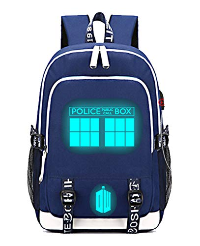 Timmor Dr Who Luminous Laptop Backpack with USB Charging Port, Middle School College Bookbags for Women Men.(Blue4)