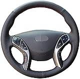 HZHAOWEI Cubierta del Volante del Coche de Cuero Cosido a Mano, para Hyundai Elantra 2011-2018 Avante i30 2012-2018-hilo Azul