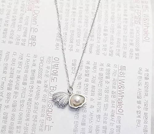Good dress Colgante de Collar de Plata S925, Conjunto de Collar de Perlas de Concha de Estilo Japonés de Moda para Damas para Damasplata, Plata 925