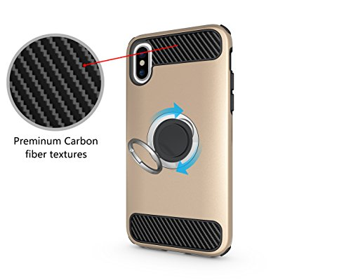 iPhone X / 10 Phone Case Protective Rugged Armor 3D Ring Case with 360 Degrees Ring Kickstand Magnetic Bracket Holster Dual Layer Anti Drop Scratch Phone Defender,iPhone X Case (Gold)