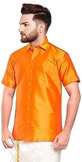 SJS-Men's Half Sleeve Solid Art Silk Shirt (Orange, 36)