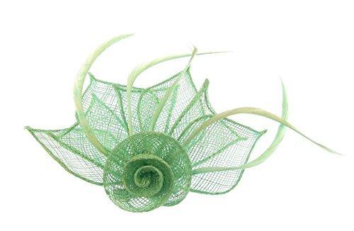 Superbe Doux Menthe Poivrée Vert en toile de jute Chapeau avec cheveux clip et broche