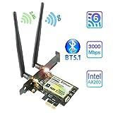 AX200 WiFi 6 Bluetooth5.1 PCIe WiFi Card   Up to 2402Mbps   Intel WiFi 6 AX200 Chip   5GHz/2.4GHz Wireless Bluetooth Card with MU-MIMO,OFDMA,Ultra-Low Latency   for Windows 10 64bit only(ZYT-AX200)