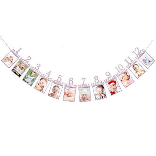 Oblique-Unique® Baby Girlande 12 Monate 1. Lebensjahr Monatsgirlande für Mädchen Babyshower Schwangerschaft Kinder Geburtstag in Pink Lila mit edlem Glitzereffekt